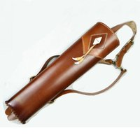 archery leather quiver - 2015 New Fashion Hand Crafted three point shoulder back Top Head Layer Cowhide Leather Archery Quiver Brown holding for Hunting