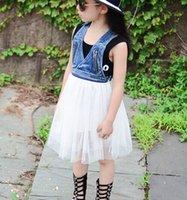 Cheap Girls summer jean Dresses Clothing Vest Sundress 2015 Korean Style Kids Childs Sweet girl child No422