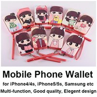 Cheap mobile phone case cell phone wallet multi function for iphone 4 4s 5 5s samsung xiaomi etc phones