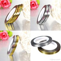 light tape - 10pcs Nail Art Tips Rolls Striping Tape Line Stickers Manicure Accessories Beauty Tools Gold Silver To Choose
