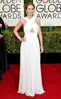 Wholesale 2015 Emily Blunt Celebrity Dresses Golden Globe Awards Red Carpet Dress Criss Cross Straps Ruffled Chiffon Ball Gowns Sexy Prom Dresses