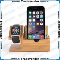 Wholesale 2 in Bamboo Desktop Charging Stand Holder Charger Dock Station Docking Station For Apple Watch iPhone