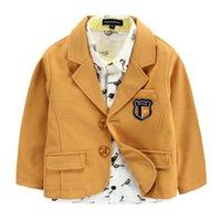 baby badge - 2 Color boy fashion badge coat new children Long sleeve Solid color fashion coat baby Suit jacket B001