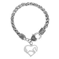 Wholesale 20pcs Hollow Heart Shape Horse Animal Zinc Alloy Plated Charms Link Chain Lobster Pendant Bracelet BA105897