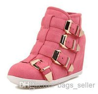 Wholesale Wedge Boots Western Style Buckle Black Pink Beige color New Arrival B11