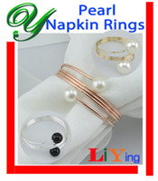 Wholesale Pearl Napkin Rings wedding Napkin Rings gold silver napkin holder Christmas Decoration Holiday dinnerware copper alloy ring for napkin