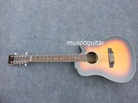 Wholesale 12 String Cutaway Acoustic Electric Guitar With Brand EQ TOBACCOBURST