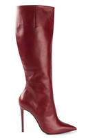 Cheap Fashion Woman Long Boots Red Brown Cowhide Leather Roman Style Over The Knee Boots Pointed Toes Night Club Side Zipper Stiletto Heel 12cm