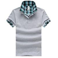 Wholesale 2015 summer new fashion plaid shirts men Short Sleeve Plaid Stand Collar Polos Shirts Mens Casual Camisa Shirt M XL
