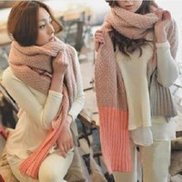 Wholesale F03 autumn and winter new Korean version of the pink color mixed colors hit two lines lengthen knitted wool scarves scarf tide