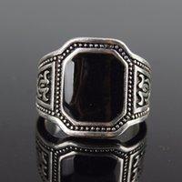 Tamaño 7-11 Nuevos anillos de los hombres clásicos 925 joyería de la vendimia de plata anillo de Negro Grande de Enamal punk rock simple anillo al por mayor