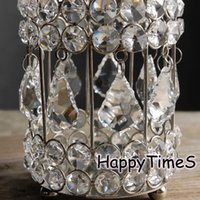 Wholesale 14cm High Wedding Center Piece Decoration Candle Holder With Crystal Pendant Glass Candle Jars Wedding Candelabra
