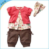 baby fruit hats - 3 Baby Girls Clothing Fruits Pattern Cotton Printed Top Pants Hat Set Outfits Years Summer Girls Clothes