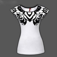 Wholesale National style Appliques paper cut art black heart quot A quot cotton women s t shirt short sleeve Size S XXXL DWJD02