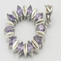 amethyst birthstone jewelry - 2016 Natural Amethyst Pendant Sterling Silver Woman Fashion Fine Elegant Jewelry Purple Crystal Birthstone Gift