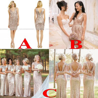 black rose - Sparkly Rose Gold Cheap Mermaid Bridesmaid Dresses Short Sleeve Sequins Backless Floor Length Beach Wedding Gown Light Gold Champagne