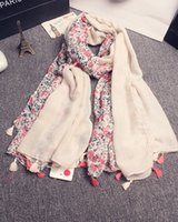 Wholesale women girls floral tassels scarves women floral scarf women s spring autumn big floral scarves wraps scarf