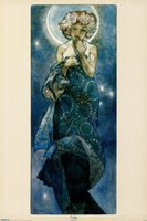 alphonse mucha paintings - Alphonse Mucha decoration oil painting The Moon famous artist reproduction