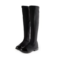 Wholesale Size30 big kids girls knee boots new fashion black stretch fabric pu leather spring autumn winter boot for teenage girls