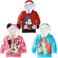 Wholesale Retail Autumn baby girls Minnie Mouse Fleece hoodies Children outerwear Kids Cartoon Clothes Sweatshirt Winter CoatAnnie