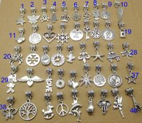 Charms dangle charms - 200pcs mixed designs mm tibet silver pandora dangle charms dangles fit Pandora bracelets alloy pandora beads