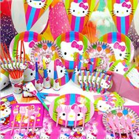 Wholesale 90pcs set Lovely KITTY Cat Birthday Party Decorations Set Girl Event Party Supplies Favor Items For Children Kids Party Supplies