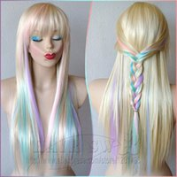 Wholesale Blonde Pastel color highlights rainbow wig Fairy princess wig Long straight hair with bangs wig Heat resistant multi color wig