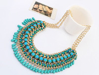 asian skirt - Rainbow National Weave Colorful Handwork Knitted Beads Lady STATEMENT NECKLACES Neck Chain Long Skirts Collar Necklaces Knitted Necklaces