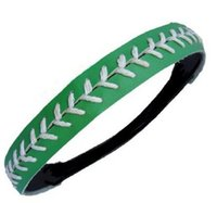 3 Pièces softball Stitches en cuir à coutures Seam HeadbandsLeather Softball bandeau rose avec blanc Seam dentelle gros Fast Pitch