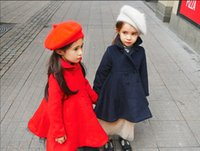 Wholesale Girls Coat Solid Long Sleeve Princess Low Hem Outcoat Double breasted Winter New Cute Outwear Kid Clothes Navy Red D0007