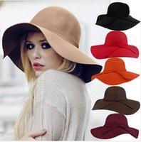 Wholesale 2015 New Style Soft Women Vintage Wide Brim Wool Felt Bowler Fedora Hat Floppy Cloche Women s Large Hat