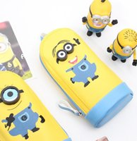 Wholesale LJJD3708 Despicable Me Yellow Minion Pen Pencil BAG Pouch Case Holder BOX Cartoon kids pencil bag Minions pencil bag