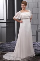 Wholesale 2015 Garden Short Sleeves Plus Size Wedding Dresses Ivory Chiffon Square Chinese Bridal Gowns A line Grecian Style Simple Bride Dress