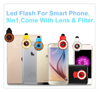 Wholesale LED Selfie In Using Light Multi Fuction Clip External Flash Light Fisheye Wide Angel Lens for Smartphones w Retail Package