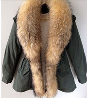 fur collar - Women Winter Coats army green Jackets Real Large Raccoon Fur Collar outwear Thick Cotton Padded Lining Down Parkas