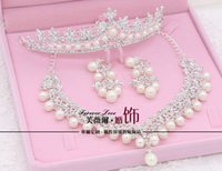 asian hair pieces - Jewery Necklace Set Three piece Bridal Accessories Tiaras Hair Necklace Earrings Accessories Wedding Jewelry Sets Locket Necklaces