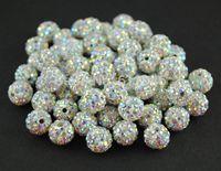 ab polymer clay - 50pcs mm Polymer Clay with AB white Rhinestone Shamballa Disco Crystal Ball Beads B8