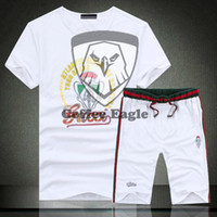 sweat suits men - 2015 summer styles cotton men s crewneck sweat suits with short sleeves slim fit shorts sportswear printing Europe packages