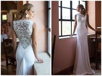 Wholesale Sexy Hollow Slim Lace Dress - Gorgeous Hollow Lace Neck Nurit Hen Mermaid White Ivory Wedding Dresses 2015 Fall New Appliques Beaded Back Slim-looking Plus Size Dresses