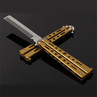 Wholesale Gold Limited Multi Functional Knife Karambit Knives New Stunning Practice Training Stainless Butterfly Knife Outdoor Comb