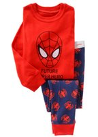 men cotton pajamas set - European Cartoon Spider Man Super Man Printed Cotton Children Pajamas Sets Spring Baby Boys Girls Home Wear T shirt Pants Set L2309