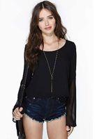 Cheap black chiffon blouse Best hollow out