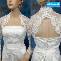 best bolero jacket - 2014 Best Seller Portrait Lace Bridal Jackets Real Image Long Sleeves Cheap Sheer Bridal Wraps Keyhole Back Custom Made Bridal Jacket