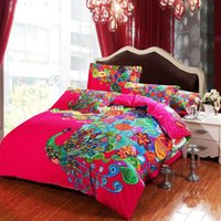 Wholesale NEW DESIGN Chinese style Peacock bedding set with red Psychedelic bedsheet for full queen king size single bed
