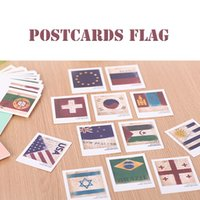Wholesale Retro European style Mini Flag USA Canada British Brazil Singapore Japan New Zealand Korea Flag Postcard Set Sheets Carton