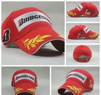 racing sports caps - 2015 New Fashion Bridgestone f1 racing cap embroidery solid baseball cap casquette COTTON motor sport cap hat for women and men