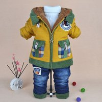 Wholesale Lattice cotton padded clothes pocket color matching jeans han edition to years old baby with velvet suit going out
