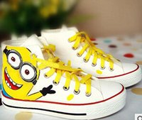 fabric painting - 7 styles Despicable Me Minions Unisex Canvas Casual Sneakers for Women men high top Hand painted board Shoes size