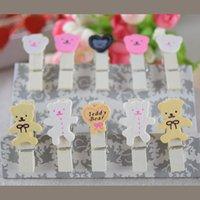 bear stationery - 100 kawaii Bear Heart Design Wooden Memo photo Paper Clips Office Supplies Wedding Stationery Clip Gift