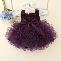 Toddler Beads Organza 2016 New Purple Ruffles Ball Gown Kids Dress Retail 1-5 Years Old Toddler Dress Wedding Flower Girls' Dresses Birthday Gift